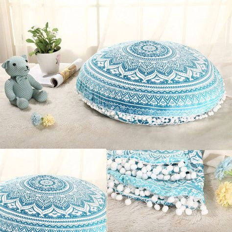 Blue Mandala Round Pillow Pouf Cover