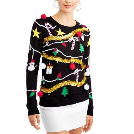 Planet Gold Juniors Embellished Holiday Sweater