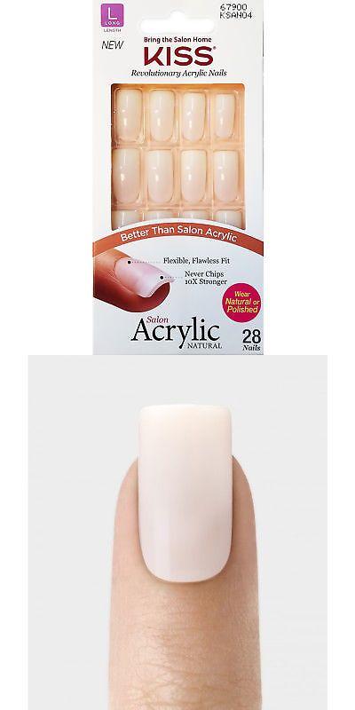 Kiss Salon Acrylic Natural 28 Nails Long Length Ksan04 Object Of Desire Artificial Nails Nails Nail Tips