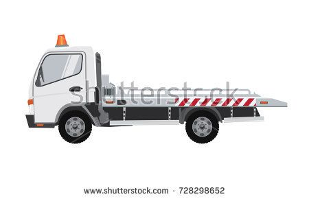 White Empty Tow Truck Flat Vector With Solid Color Design Tow