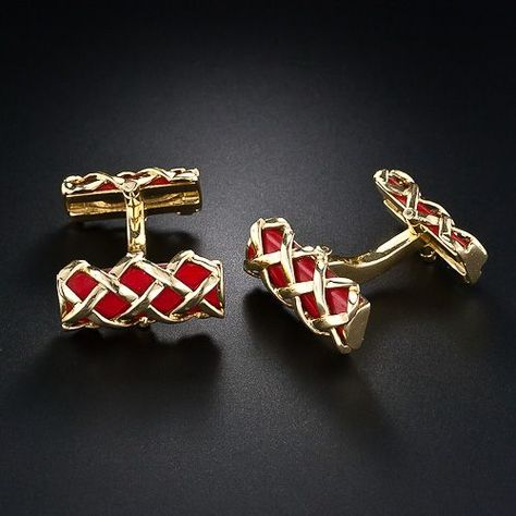 Elegant #cufflinks featuring deep red Mediterranean coral enamel and 18 karat gold #Mensfashion jewelry