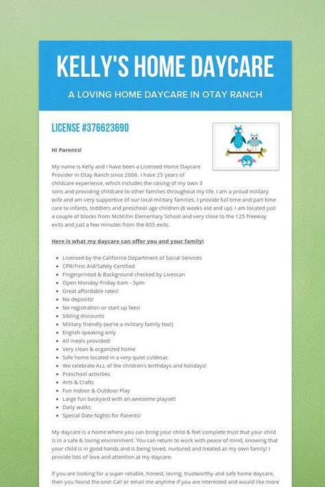 Kellyu0027s Home Daycare At home daycare Pinterest Kelly s - background check form