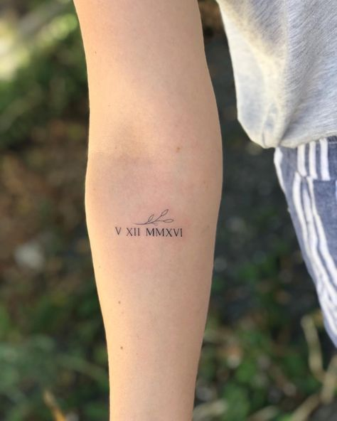 Roman Numeral Tattoos That Will Mark Your Most Memorable Date Arm Quote Tattoos, Inner Arm Tattoos, Back Of Arm Tattoo, Faith Tattoo On Wrist, Side Wrist Tattoos, Script Tattoos, Name Tattoos For Moms, Mom Tattoos, Future Tattoos