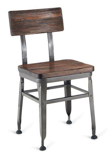 Walnut Finish Reclaimed Wood Restaurant Chair Distressed