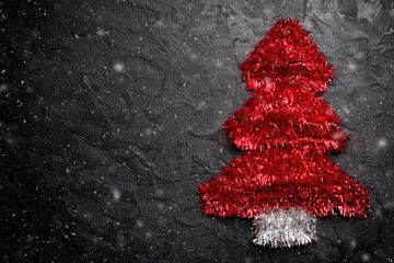 Christmas Tree Made From Red Tinsel Christmas Garland Decoration On Black Stone Background With Snow Free Space For Your Text Affiliate Christmas Garlan 2020