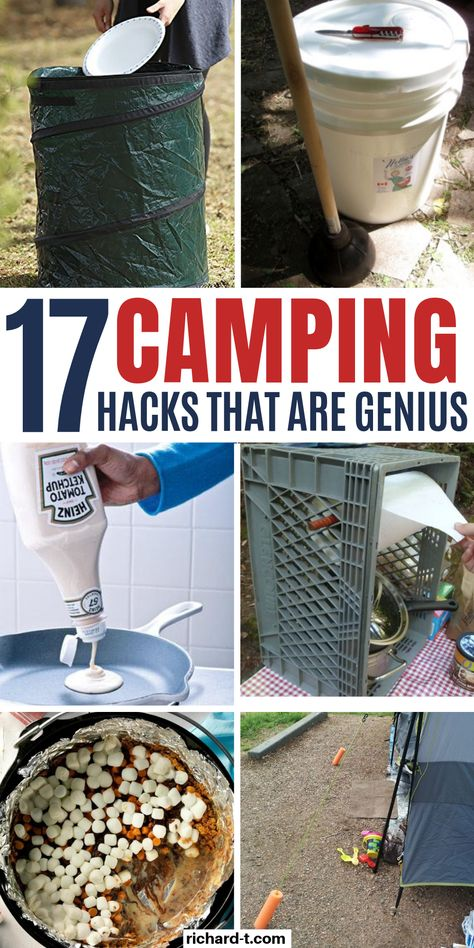 Check out these GENIUS camping hacks that every camper should use! These 17 camping hacks are so clever, and I am definitely trying them out on my next camping adventure! hacks camper 17 Genius Camping Hacks Every Outdoor Family Could Use Diy Camping, Zelt Camping, Bushcraft Camping, Camping Glamping, Camping Survival, Camping And Hiking, Family Camping, Camping Tricks, Outdoor Camping