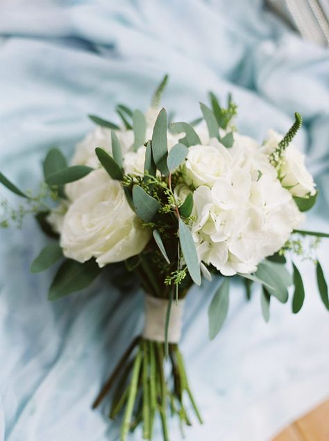 White Roses and Hydrangeas Beach Wedding Bouquet