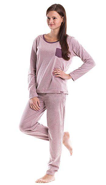 cheap for discount e2865 9f80c Moonline trendiger Damen-Pyjama Schlafanzug Hausanzug mit ...