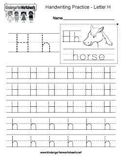 Letter H Writing Practice Worksheet Writing Practice Worksheets