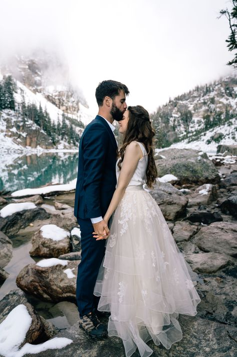 Adventure elopement at Delta Lake in Grand Teton National Park outside of Jackson, Wyoming.