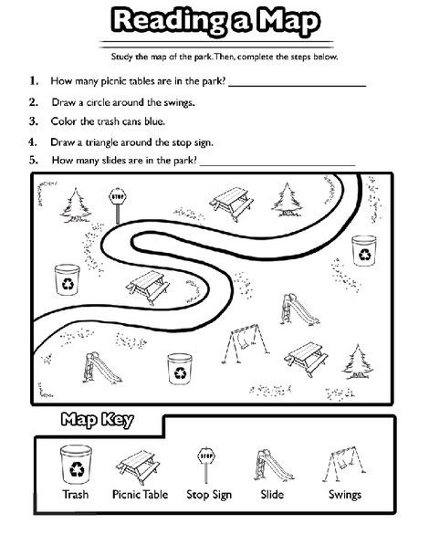 Reading A Map Worksheet Education Com Social Studies Worksheets Kindergarten Social Studies Social Studies Maps