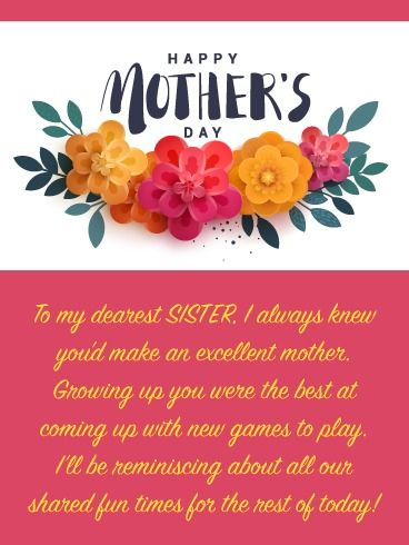 Spring Flowers Happy Mother S Day Card For Sister Birthday Greeting Cards By Davia Birthday Greetings For Sister Happy Mother S Day Calligraphy Happy Mothers Day Sister