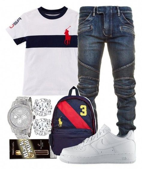 A menswear look from July 2016 featuring mens biker jeans, white t shirt and red bag. Browse and shop related looks.