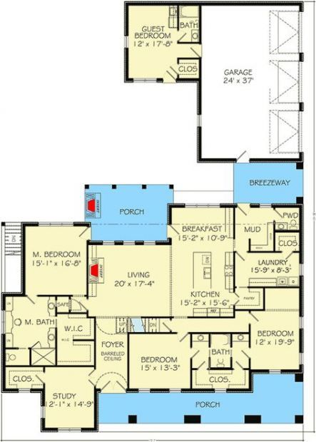 House Plans With In Law Suite Breezeway 24 New Ideas House Plans One Story House Plans Open House Plans