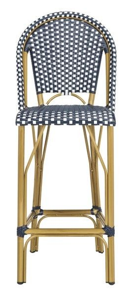 French Bistro Outdoor Bar Stool In Navy And White Patio Furnishings Patio Bar Stools Outdoor Bar Stools