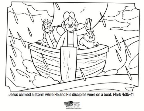 Kids Coloring Page From What S In The Bible Showing Jesus Calming