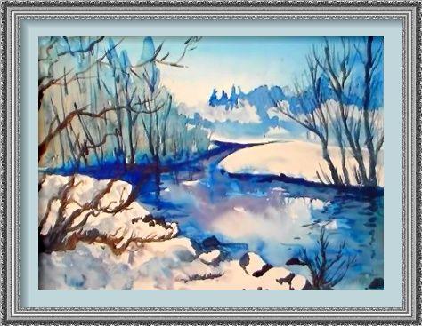 Dessin Et Peinture Video 2598 Le Ruisseau Gele Dans Un Paysage