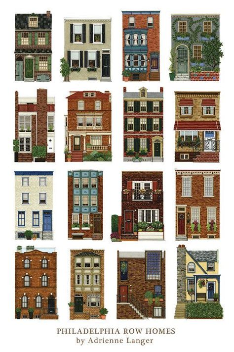 House Portraits by Adrienne Langer: Philadelphia Row Homes Poster Minecraft Plans, Minecraft City, Minecraft Construction, Minecraft Blueprints, Minecraft Buildings, Cute Minecraft Houses, Creeper Minecraft, Minecraft Restaurant, Villa Minecraft