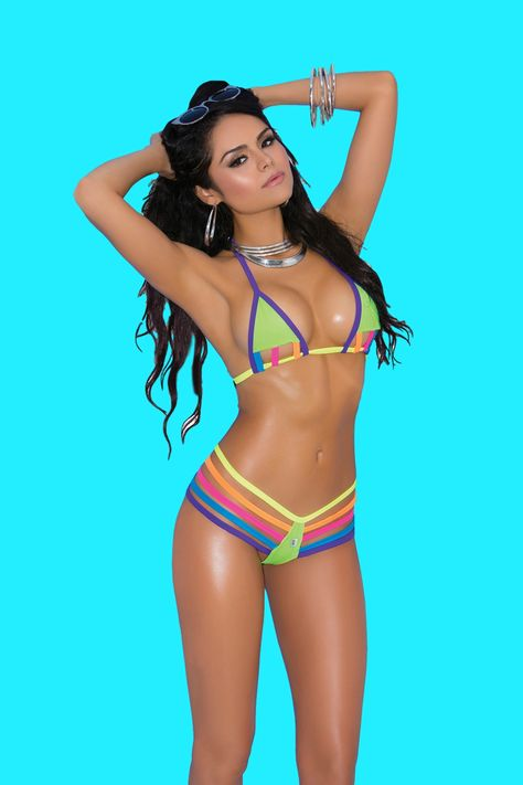 bb8f0ee1f6 TINY BIKINI - This Tiny Bikini features a multi-color string design semi  cupless lycra micro bikini top and a sexy bandage style matching g string  with ...