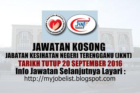 Jawatan Kosong di Jabatan Kesihatan Negeri Terengganu (JKNT) - 20 September 2016  Jawatan kosong terkini di Jabatan Kesihatan Negeri Terengganu (JKNT) September 2016. Permohonan adalah dipelawa daripada warganegara Malaysia yang berumur tidak kurang daripada tahun keatas pada tarikh tutup iklan jawatan dan berkelayakan untuk mengisi kekosongan jawatan kosong di Jabatan Kesihatan Negeri Terengganu (JKNT) sebagai : 1. PENOLONG PEGAWAI TEKNOLOGI MAKLUMAT F29 (PSH)  Tarikh tutup permohonan 20…