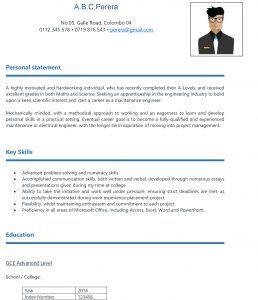 Free Download Cv Format For School Leavers In Sri Lanka Cv Format Download Cv Format School Leavers