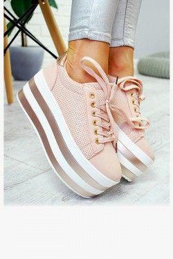 Trampki Rozowe Platforma W Paski 7752 Obuwie Damskie Www Stylowebuty Pl Wedge Sneaker Fashion Shoes
