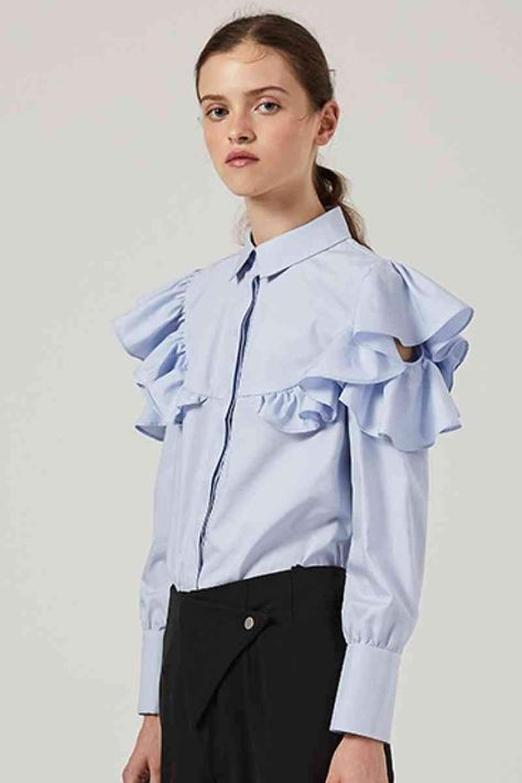 Size: True to size Pattern: Plain Feature: Long sleeve, cut out, button placket, ruffle Neckline: Point collar Sheer: No Stretch: No stretch Measurements: S: shoulder 13 in, bust 35 in, waist 35 in, sleeve length 18 in, cuff 8 in, length 24 inM: shoulder 14 in, bust 37 in, waist 37 in, sleeve length 19 in, cuff 8 in, length 24 inL: shoulder 14 in, bust 39 in, waist 38 in, sleeve length 19 in, cuff 8 in, length 25 in Material composition: 100% cotton Care: Machine wash cold. Tumble dry low. Impor