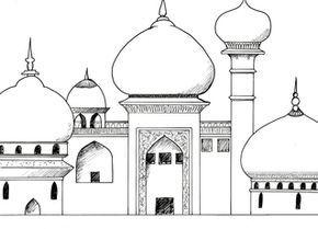 Palast Aus 1001 Nacht Palast Tempel Residenz Orient 1001 Nacht Marchen Zwiebelturmchen Exotisch Vorlage Zeichnu Nacht Orientalische Stadt 1001 Nacht