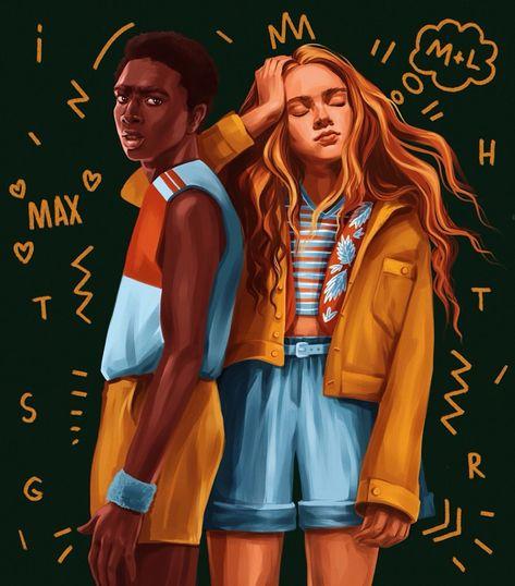 Stranger Things Lucas and Max by imagine_polli, Season 3, Caleb McLaughlin, Sadie Sink, fanart
