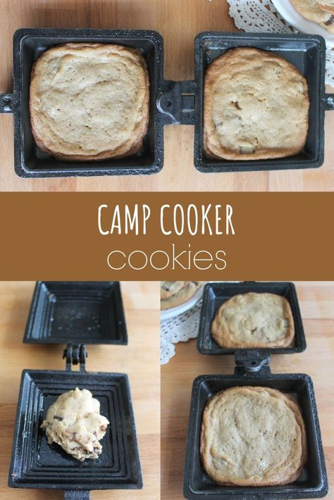 These camp cooker cookies are an easy and tasty treat to make while camping. Check out the recipe and find tips for perfect camping cookies. Camping Cooker, Camping Meals, Camping Recipes Lunch, Backpacking Meals, Family Camping, Pie Iron Cooking, Dutch Oven Cooking, Mountain Pies, Camping Meal Planning