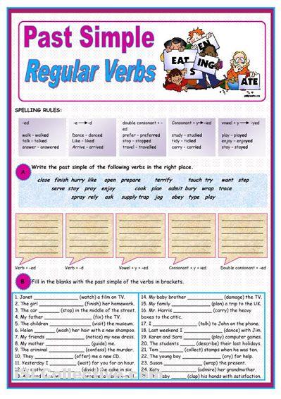 Exercise On Simple Past Regular Verbs Regular Verbs Past Tense Worksheet Verb Worksheets