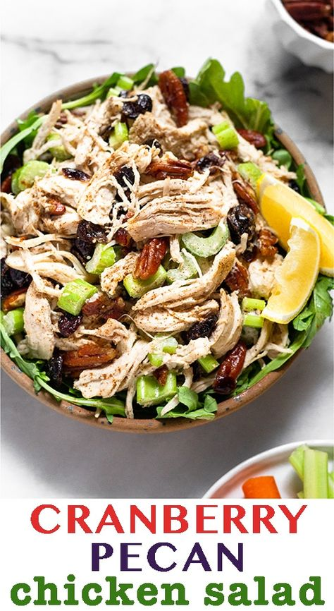 Just 7 ingredients and 5 minutes to make this cranberry pecan chicken salad! It makes the perfect quick, easy, and healthy meal for this busy time of year and paleo and Whole30 approved too! - Eat the Gains #paleo #whole30 #chickensalad #glutenfree #whole30chickensalad #lowcarbrecipes