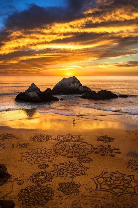 Sunset run, sand art, ocean beach, SF by F. Rowe