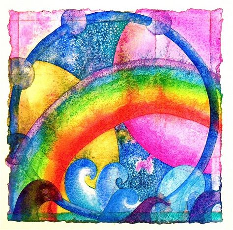 """Love Letter 19: Jumping through hoops  Watercolor on handmade Shizen 500 lb rag paper   11.5"""" x 11.5""""  300.00   postpaid"""