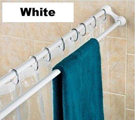 125 225cm Extendable Double Towel Shower Curtain Rail Rod In