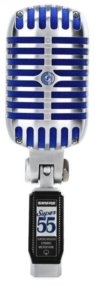Super 55Vocal Microphone SUPER 55 General Description The Shure Super 55 Deluxe Vocal Microphone combines the vintage design of the original with a stunning upgrade in audio performance. The Super 55 features the signature chrome-plated die-cast body, redesigned name plate, striking blue foam windscreen, and a smooth frequency response for natural vocals. The Super 55 is a high-output, dynamic vocal microphone designed for stage and studio. The supercardioid polar pattern ensures high gain befor