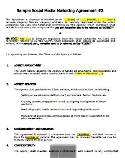 Media Contract Sample Simple Social Media Contract Template