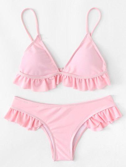 fc8afd3c7 Adjustable Straps Ruffle Bikini Set bathing suits bathing suits for women  beachwear bikini bikini online bikini