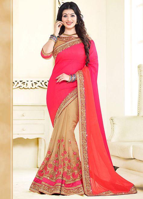 Gleaming Deep #Pink #Bollywood Saree @ http://www.indiandesignershop.com/product/gleaming-deep-pink-bollywood-saree/