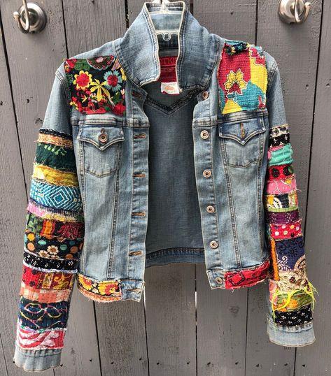 Veste en jean hippie boho Veste en jean en denim coloré à ornements -