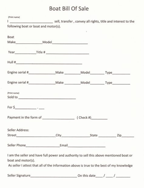 Free Colorado Boat Bill of Sale Form - Word PDF eForms u2013 Free - boat purchase agreement