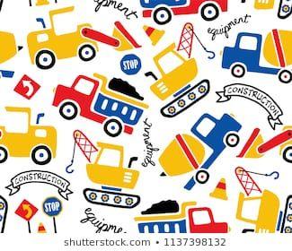 Vector Seamless Pattern With Construction Vehicles Cartoon かわいいイラスト Tシャツ デザイン イラスト