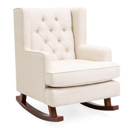 Home Comfy Chairs Tufted Rocking Chair Wingback Rocking Chair