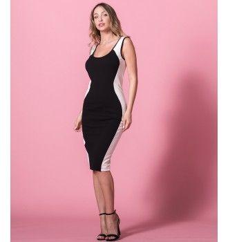 509732b4546 Δίχρωμο Pencil Στενό Φόρεμα | Λευκό - Μαύρο | Little Black Dress | Μαύρο