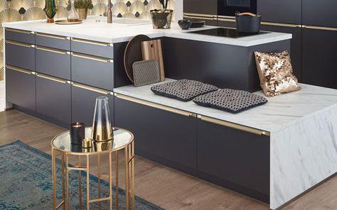 Art Deco Küche mit Arbeitsplatte aus Marmor Dekor Golden 20ies