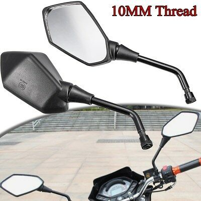 2X Motorcycle Motorcross Chopper ATV Bikes 10mm Black Rear View Side Mirrors