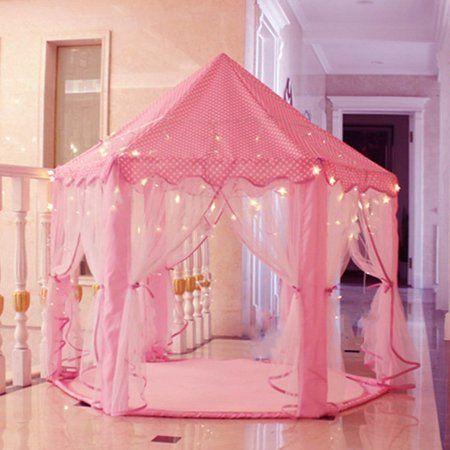 Indoor and Outdoor Kids Play House Pink Hexagon Princess Castle Kids Play Tent Kids Indoor Playhouse, Indoor Tents, Build A Playhouse, Pastel Room, Pink Room, Kawaii Bedroom, Princess Castle, Pink Princess, Unicorn Rooms