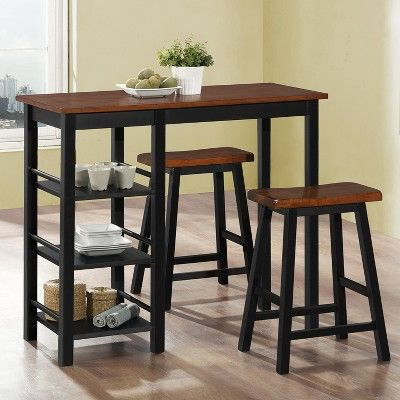 3pc Counter Height Wood Bistro With Storage Brown Home Source