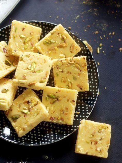 Milk Powder Barfi Diwali Special Indian Sweet