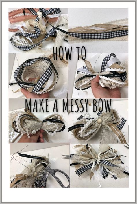 Learn how to recycle your ribbon and create your stunning MESSY BOW to decorate you house. : Learn how to recycle your ribbon and create your stunning MESSY BOW to decorate you house. Diy Bow, Diy Ribbon, Ribbon Crafts, Ribbon Bows, Ribbons, Wreath Bows, Burlap Bows, Ribbon Wreath Tutorial, Burlap Bow Tutorial
